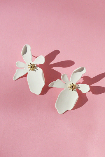 Floral Statement Earrings Earrings Mulberry & Grand White