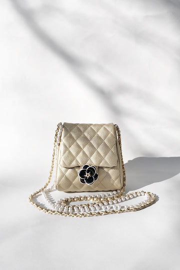 Flower Detailed Crossbody Bag with Pearl Chain