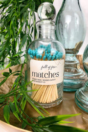 Full of Fire 100 Matches Jar Candles Made Market Aqua