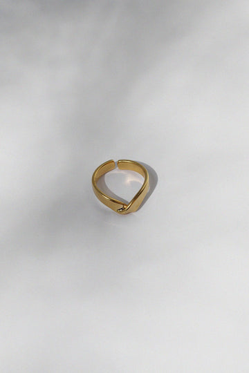 Gold Folded V Ring