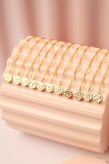 Gold Zodiac Charm Necklace Necklace Mulberry & Grand