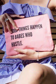 Good Things Happen to Babes Who Hustle Inspirational Canvas Pouch Mulberry & Grand