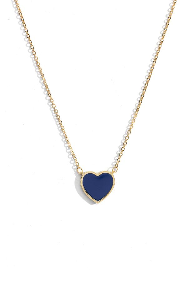 Heart Medallion Charm Necklace - Navy