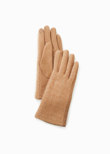 Herringbone Two Tone Gloves Gloves Look by M camel