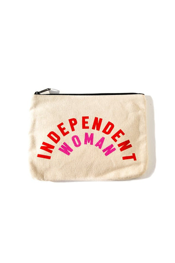 Independent Woman Canvas Pouch Inspirational Canvas Pouch Mulberry & Grand