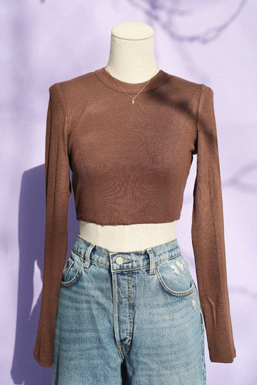 Knit Long Sleeve Crop Top Clothing Beige Botany