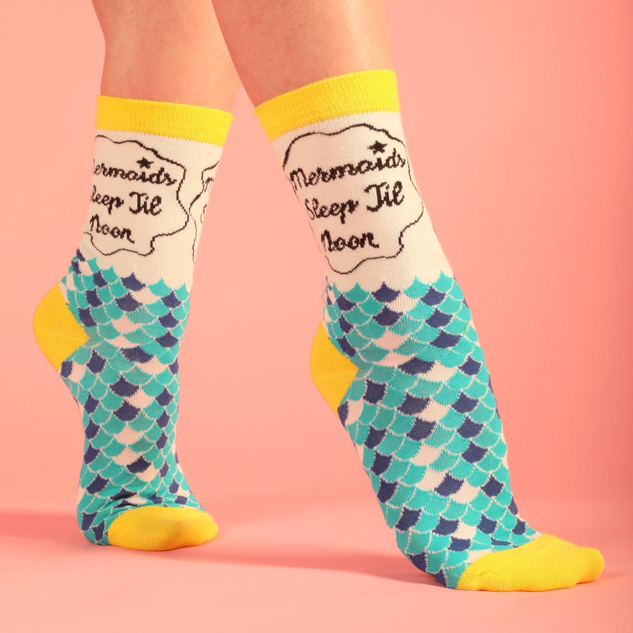 Mermaids Sleep Till Noon Socks