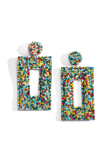 Multi Colored Rectangle Beaded Earrings