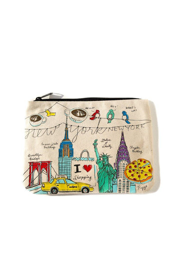 NY Illustration Canvas Pouch Inspirational Canvas Pouch Mulberry & Grand