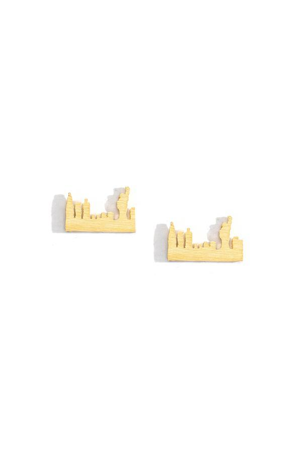 NYC Skyline Charm Earrings in Gold