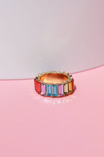 Oversized Pastel Rainbow Baguette Infinity Ring Rings Mulberry & Grand 6