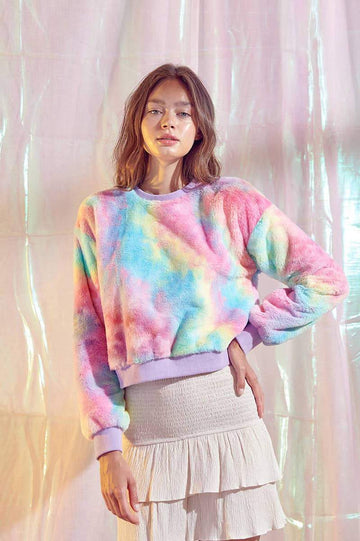 Pastel Rainbow Fuzzy Pullover Sweater Clothing Storia S