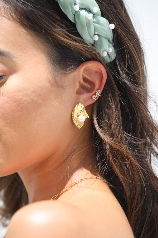 Pearl and Gold Nugget Earrings