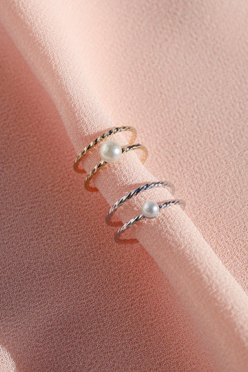 Pearl Double Twist Stacking Ring Rings Mulberry & Grand