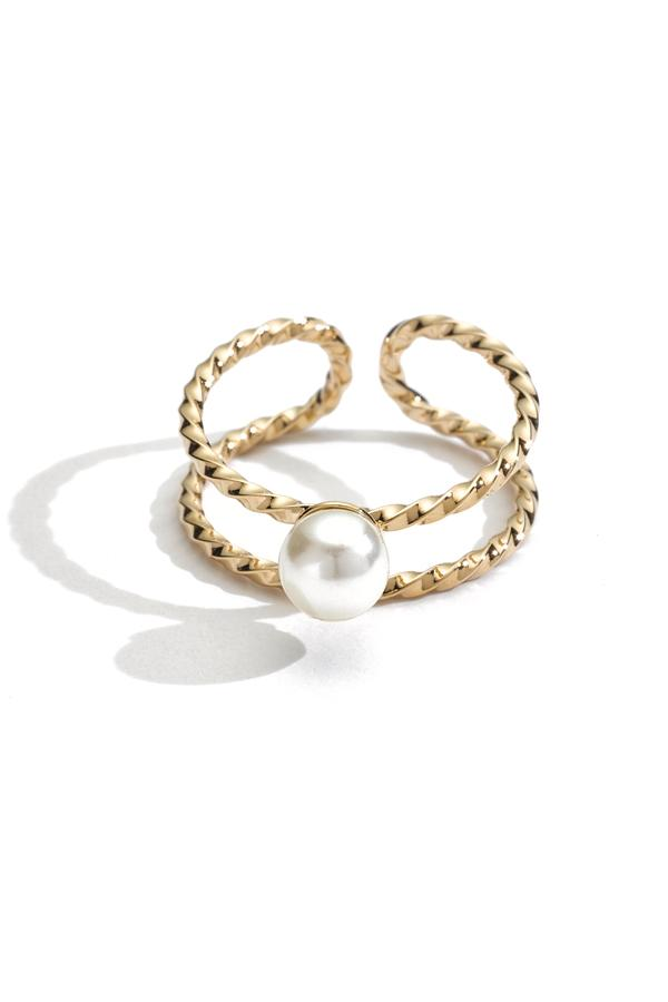 Pearl Double Twist Stacking Ring