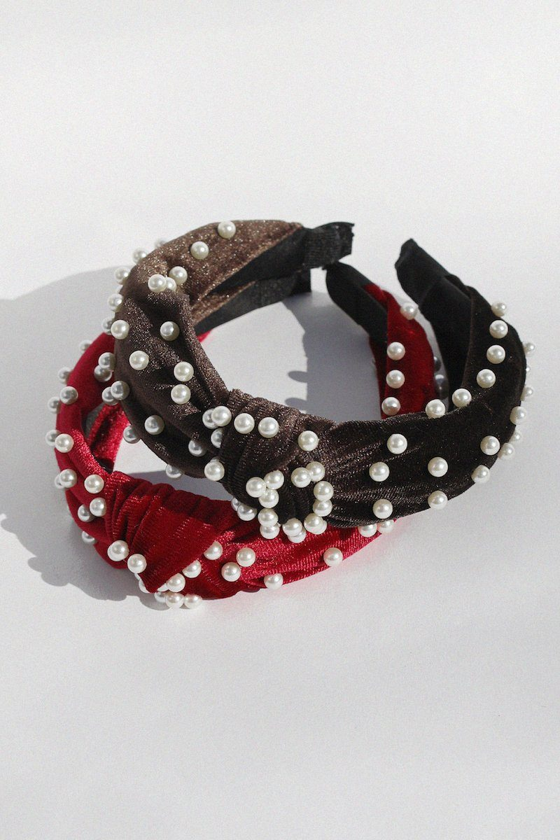 Pearl Velvet Headband Hair Accessory Mulberry & Grand