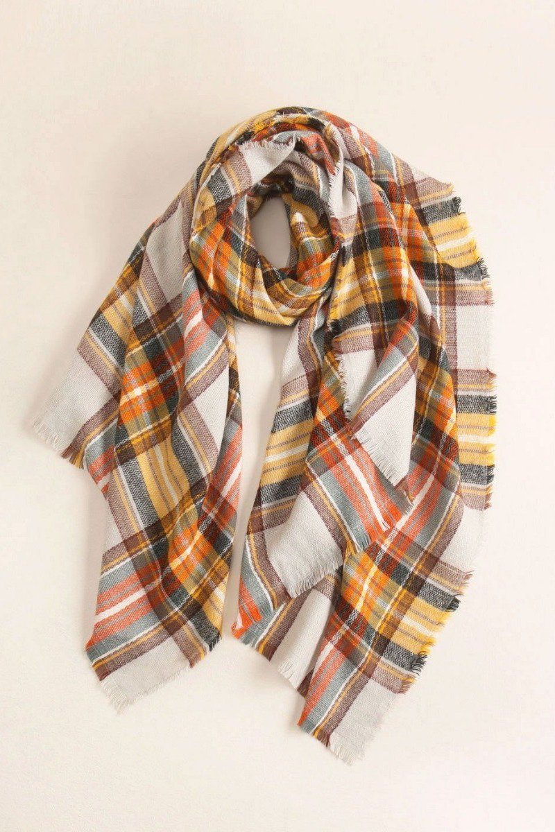 Plaid Wool Blanket Scarf