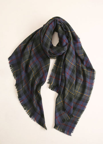 Plaid Wool Scarf in Dark Green