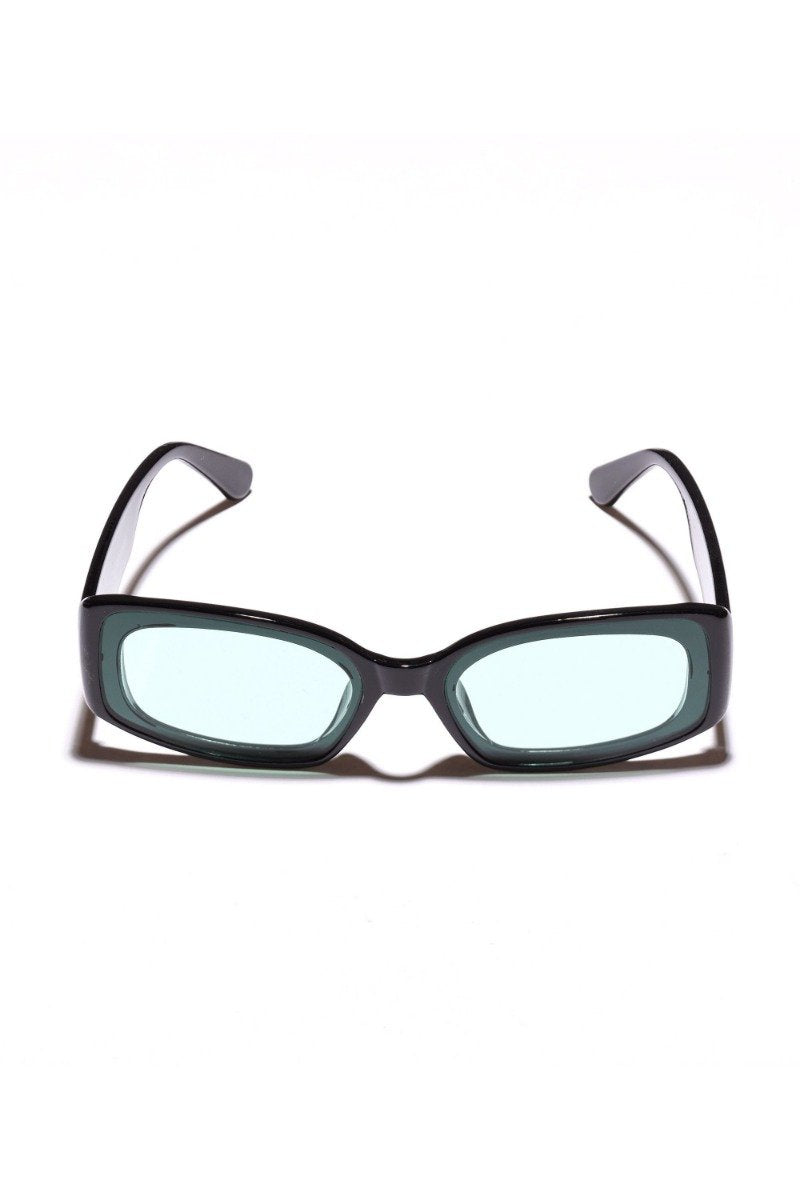 Poolside Sunglasses in Black with Green Lens by Mulberry and Grand