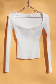 Ribbed Fitted Low Neckline Top Clothing Beige Botany