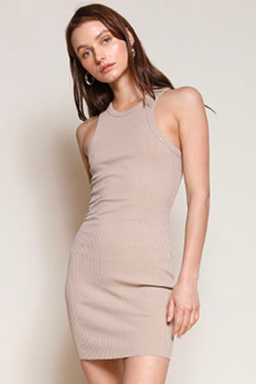 Ribbed Knit Mini Dress Clothing Beige Botany