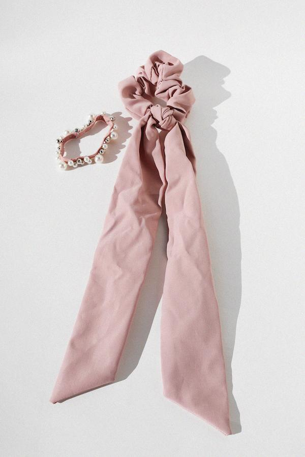 Scarf Scrunchie and Pearl Hair Tie Set