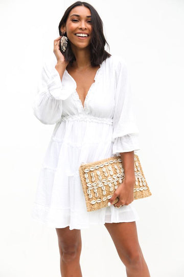 Shell and Jute Clutch Purse
