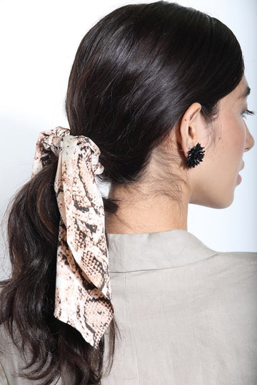 Snake Print Scarf Scrunchie Hair Accessory Mulberry & Grand