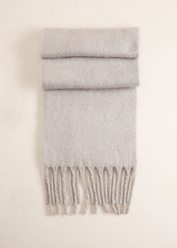 Solid Scarf w/ Chunky Fringe in Grey Scarves Mulberry & Grand