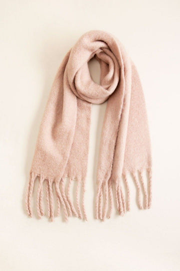 Solid Scarf w/ Chunky Fringe in Pink Scarves Mulberry & Grand