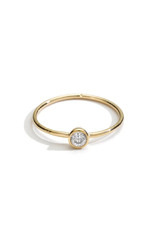 Solitaire Crystal Stacking Ring