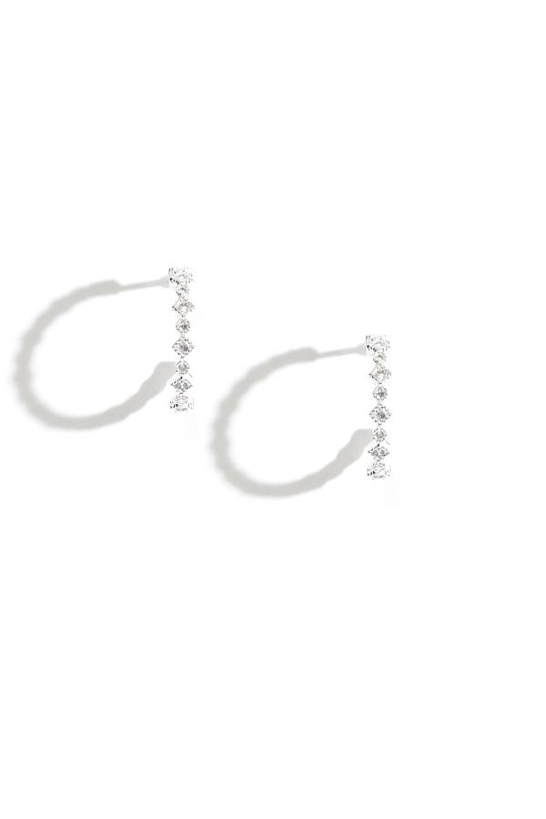 Sterling Silver Crystal Geometric Hoop Earrings