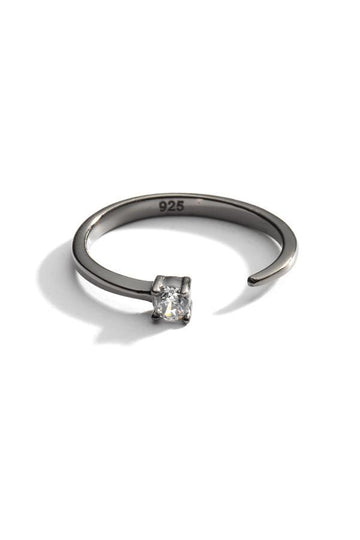 Sterling Silver Open Crystal Ring In Gun Metal