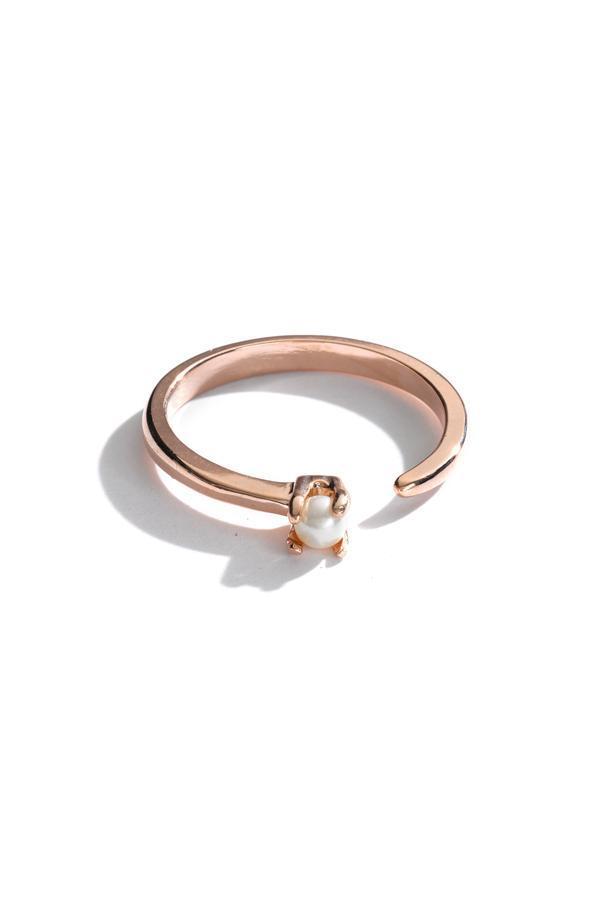 Sterling Silver Open Crystal Ring In Rose Gold