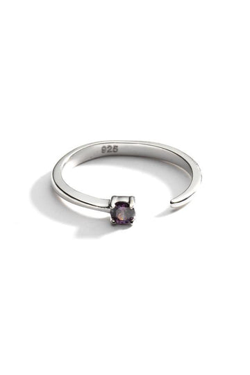 Sterling Silver Open Crystal Ring In Silver