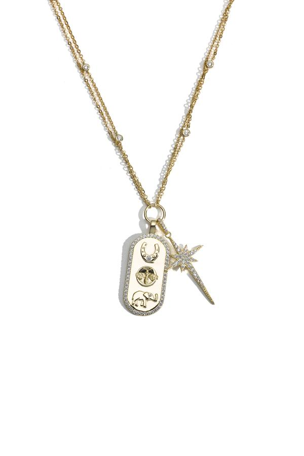Sterling Silver Star and Charm Necklace
