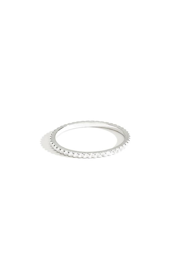 Sterling Silver Studded Thin Band Ring