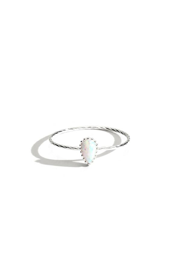 Sterling Silver Tear Drop Opal Ring