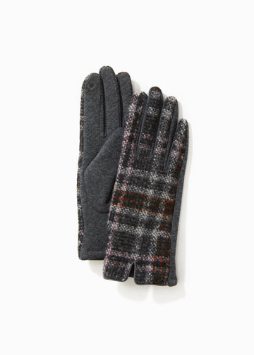 Grey Tweed Plaid Gloves Gloves Look by M Default
