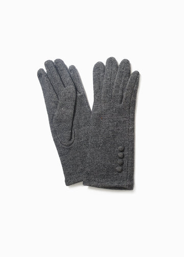 Two Tone Button Gloves Gloves Look by M Black