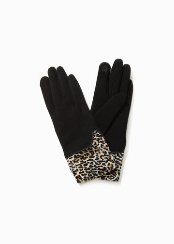 Velvet Leopard Layered Gloves