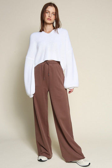 Wide Leg Sweat Pants Clothing Beige Botany S