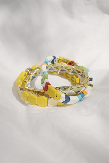 Yellow Enamel Bracelet Stack