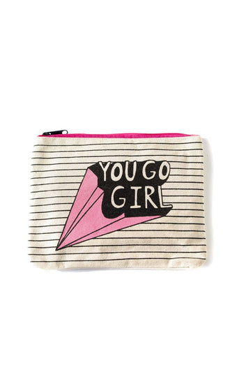 You Go Girl Canvas Pouch Inspirational Canvas Pouch Mulberry & Grand