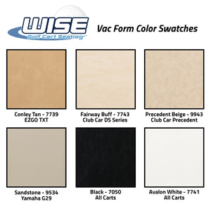 Wise Golf Cart Seating - Vac Form Color Swatches - EZGO TXT Club Car DS Precedent Yamaha G29