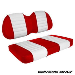 Club Car Precedent Golf Cart Seat Cover Set Premium Designer Sewn - Red / White