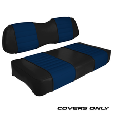 Club Car DS Series Golf Cart Seat Cover Set Premium Designer Sewn - Black / Blue