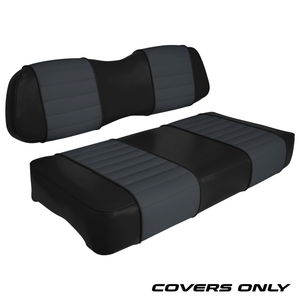 Club Car DS Series Golf Cart Seat Cover Set Premium Designer Sewn - Black / Charcoal