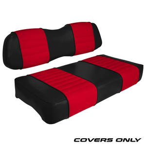 Club Car DS Series Golf Cart Seat Cover Set Premium Designer Sewn - Black / Red