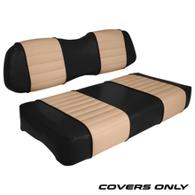 Club Car DS Series Golf Cart Seat Cover Set Premium Designer Sewn - Black / Tan